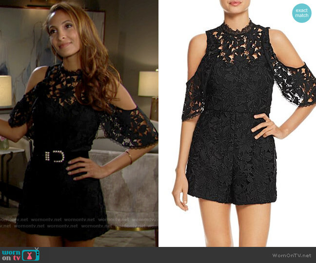 Alice + Olivia Junie Romper worn by Lily Winters (Christel Khalil) on The Young & the Restless
