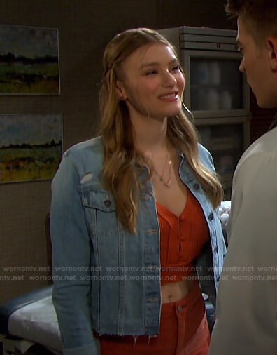 Allie's orange cropped top and denim jacket on Days of our Lives