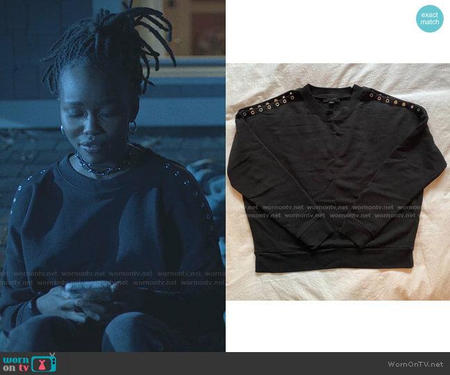 Cruz Unai Grommet Sweatshirt by All Saints worn by Jennifer Pierce (Laura Kariuki) on Black Lightning