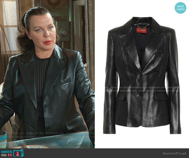 Single-Breasted Leather Blazer by Altuzarra worn by Maggie (Debi Mazar) on Younger