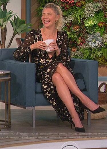 Amanda's black metallic star sheer dress on The Talk