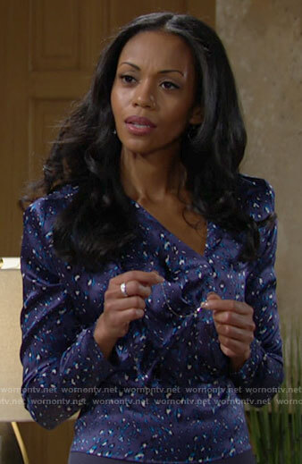 Amanda's blue leopard print top on The Young and the Restless