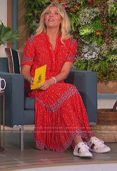 Amanda's red floral print dress on The Talk