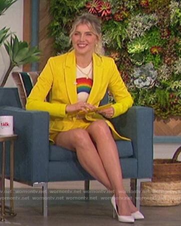 Amanda's yellow blazer and rainbow print tee on The Talk