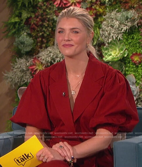 Amanda's red belted jacket on The Talk