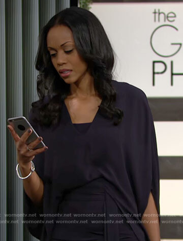 Amanda's navy draped sleeve top on The Young and the Restless