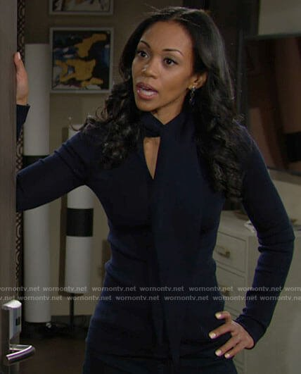 Amanda's navy tie neck sweater on The Young and the Restless