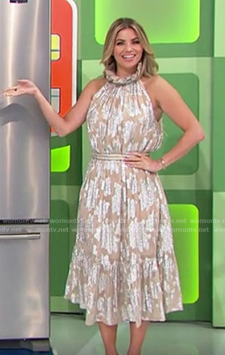 Amber's beige and silver floral midi dress on The Price is Right