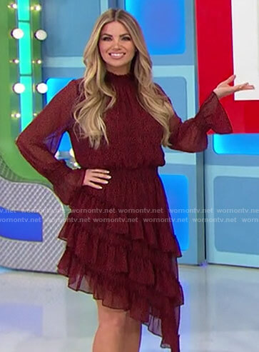 Amber's red asymmetric ruffled dress on The Price is Right
