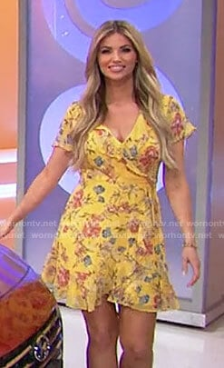 Amber's yellow floral wrap dress on The Price is Right