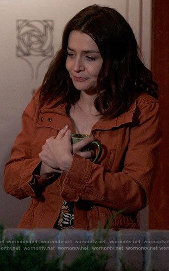 Amelia's rust orange jacket on Greys Anatomy