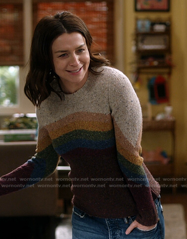 Amelia's speckled colorblock sweater on Greys Anatomy
