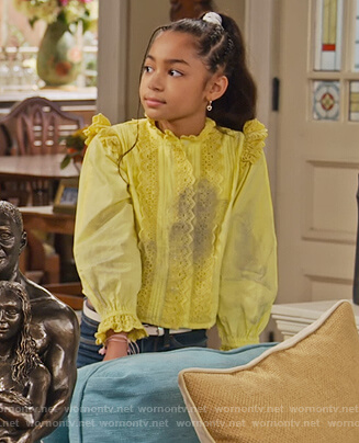 Ami's yellow lace top on Family Reunion