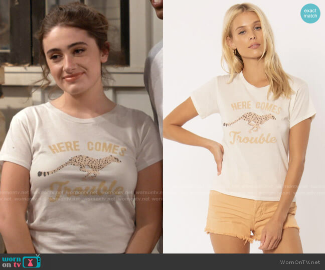 Amuse Society Trouble T-shirt worn by Jackie Raines (Rachel Sennott) on Call Your Mother