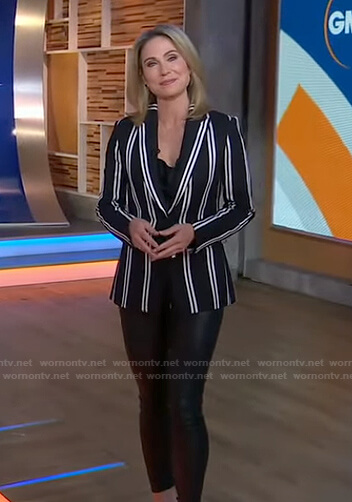 Amy's black striped blazer and leather leggings on Good Morning America