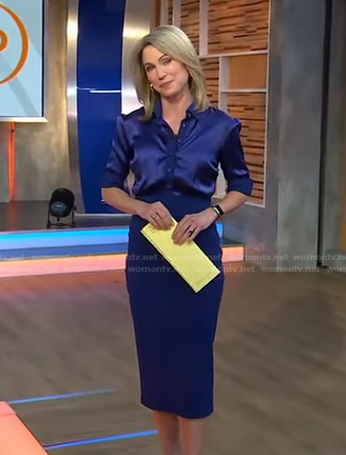 Amy's blue satin shirt and pencil skirt on Good Morning America
