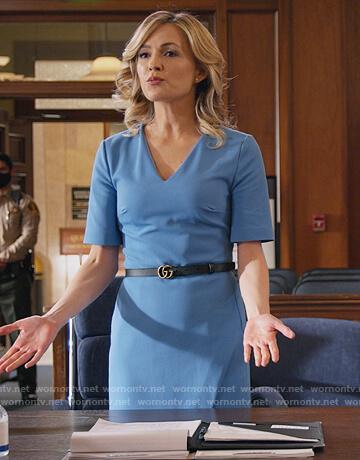 Amy's blue v-neck sheath dress on All Rise