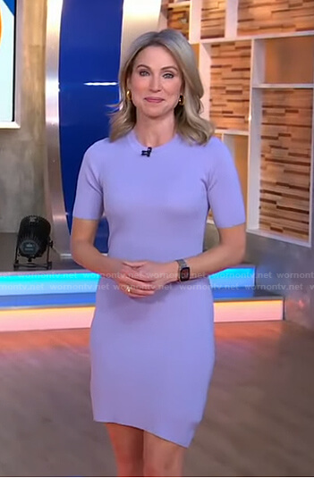 Amy's lavender ribbed mini dress on Good Morning America