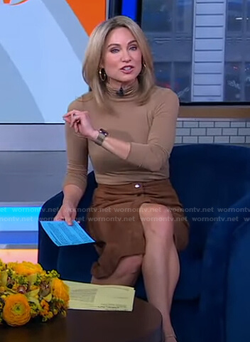 Amy's moca turtleneck top and suede skirt on Good Morning America