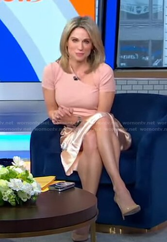 Amy's pink asymmetric top and satin skirt on Good Morning America