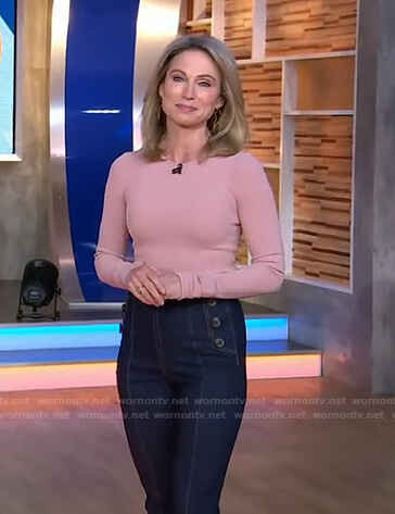 Amy's pink ribbed sweater and jeans on Good Morning America