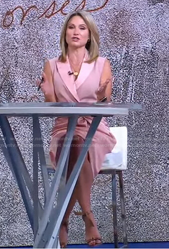 Amy's pink sleeveless blazer dress on Good Morning America