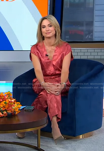 Amy's pink surplice jumpsuit on Good Morning America