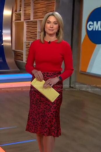 Amy's red ribbed sweater and leopard skirt on Good Morning America