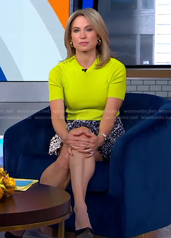 Amy's yellow studded shoulder top and printed mini skirt on Good Morning America