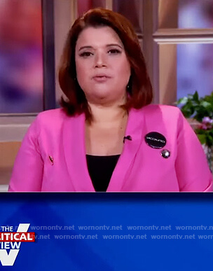 Ana's pink double breasted blazer on The View