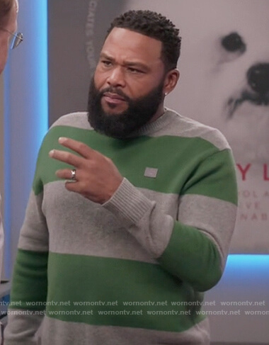 Andre's gray and green stripe sweater on Black-ish