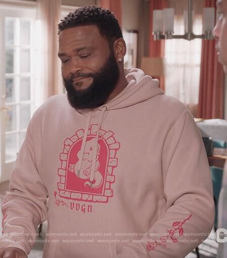 Andre's pink ghost print hoodie on Black-ish