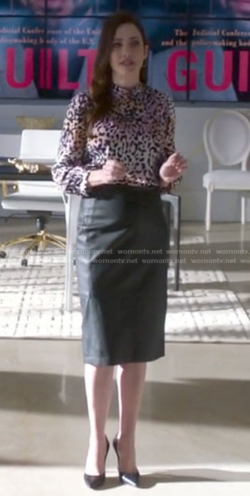 Andrea's leopard print blouse and leather skirt on Supergirl