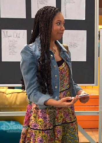 Angelica's floral mini dress and puff sleeve denim jacket on Ravens Home