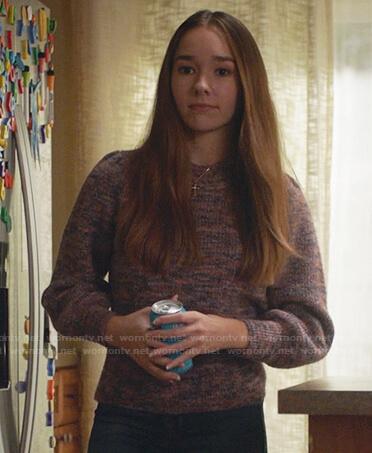 Angelina's purple marled sweater on Manifest