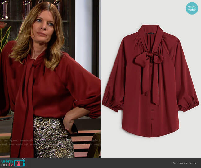 Ann Taylor Bow Blouse worn by Phyllis Summers (Michelle Stafford) on The Young & the Restless