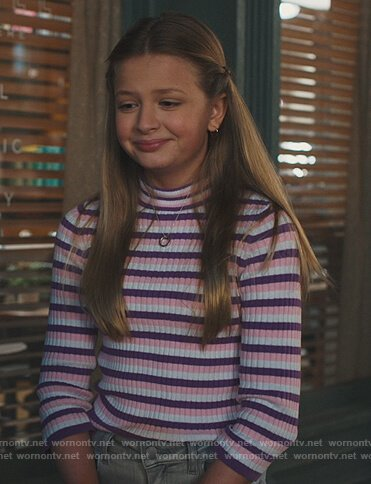 Anna's stripe ribbed sweater on American Housewife