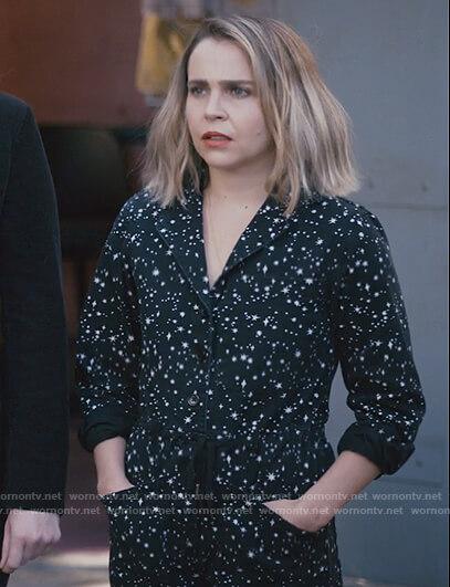 Beth's blue metallic trim sweater on Good Girls