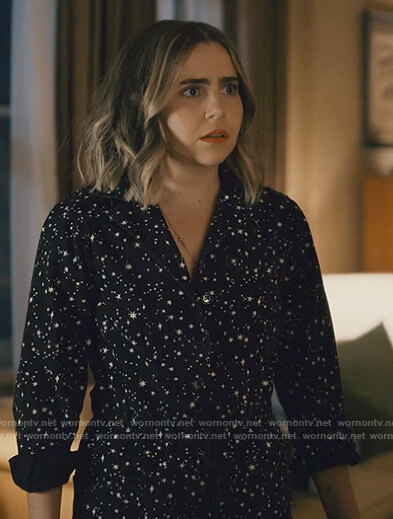 Annie's black star print jumpsuit on Good Girls