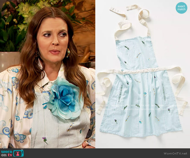 Canella Apron by Anthropologie worn by Drew Barrymore  on The Drew Barrymore Show