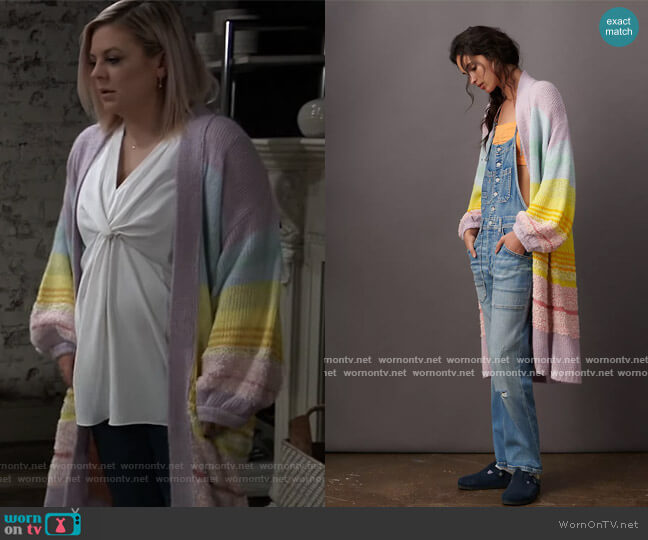 Kimmie Ombre Duster Cardigan by by Anthropologie worn by Maxie Jones (Kirsten Storms) on General Hospital