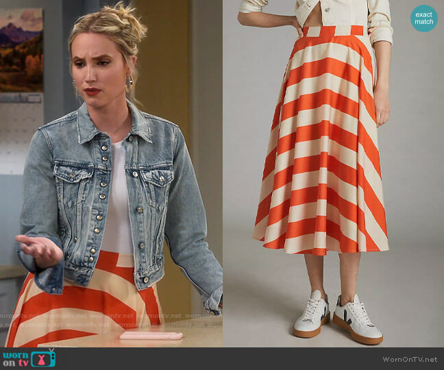 Anthropologie Mare Mare Ilsa Striped Midi Skirt worn by Mandy Baxter (Molly McCook) on Last Man Standing