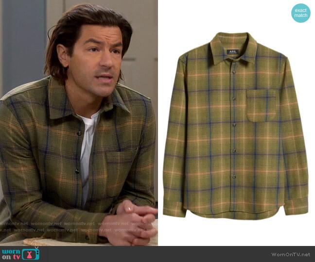 APC Surchemise Trek Plaid Wool Blend Shirt Jacket worn by Ryan on Last Man Standing