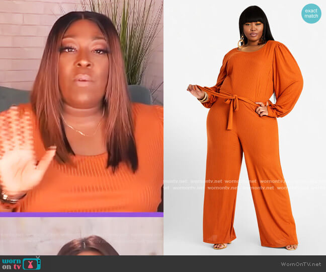 Belted Wide Leg Keyhole Jumpsuit by Ashley Stewart worn by Loni Love  on The Real