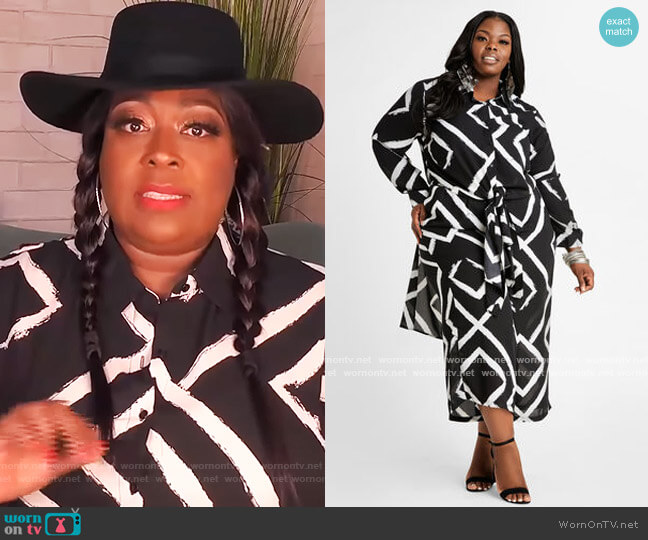 Stripe Semi Sheer Duster Button Up by Ashley Stewart worn by Loni Love  on The Real