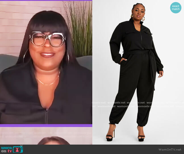 Belted Utility Jogger Jumpsuit by Ashley Stewart worn by Loni Love  on The Real
