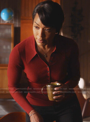 Athena's red ribbed polo top on 9-1-1
