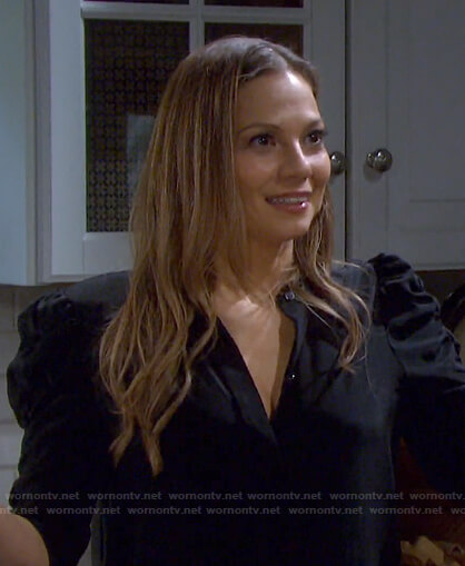 Ava's black puff sleeve blouse on Days of our Lives