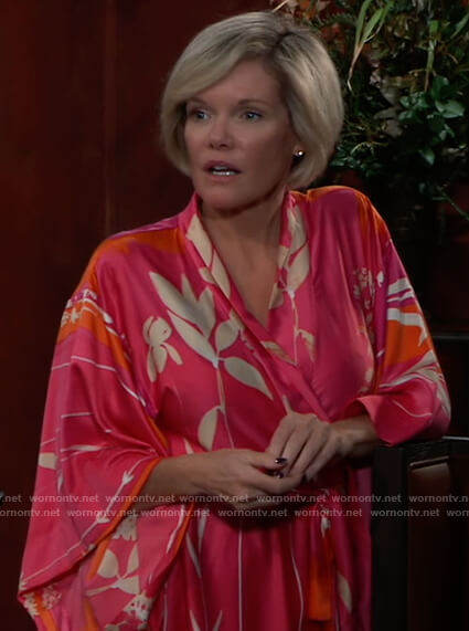 Ava's pink and orange floral robe on General Hospital