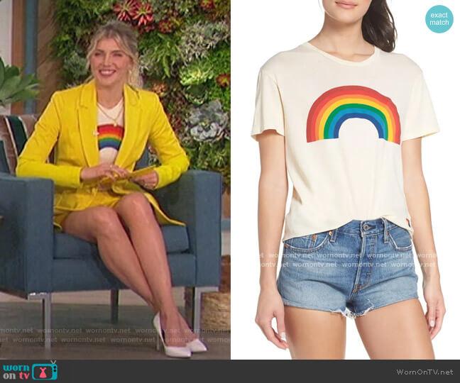 Big Rainbow Graphic Boyfriend Tee by Aviator Nation worn by Amanda Kloots  on The Talk